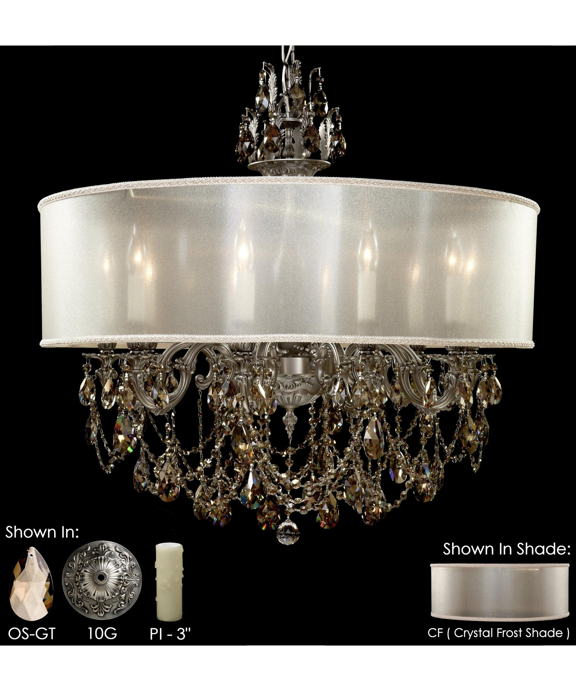 American Brass And Crystal Ch6562 Llydia 32 Inch Wide 10 Light Pertaining To Brass And Crystal Chandelier (Image 1 of 15)
