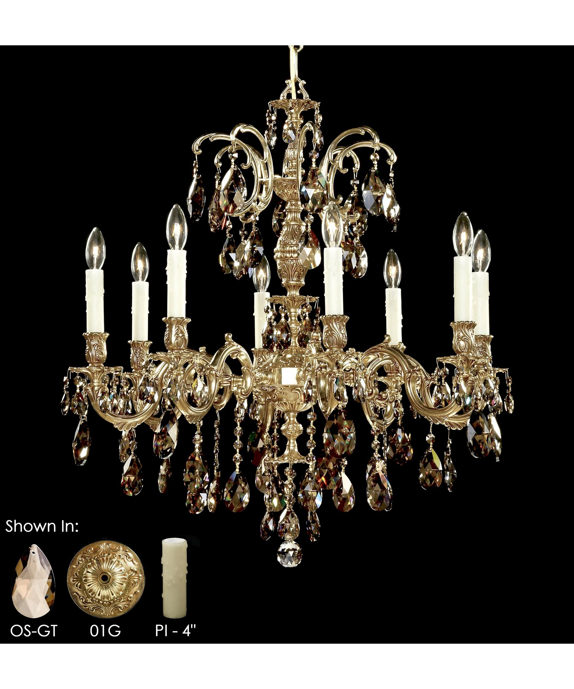 American Brass And Crystal Ch9714 Marlena 27 Inch Wide 8 Light For Crystal And Brass Chandelier (View 7 of 15)