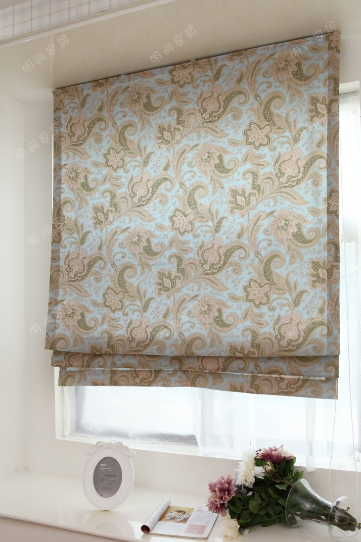 American Country Style Blue 100 Cotton Fabric Curtainroman Regarding Roman Fabric Blinds (Image 2 of 15)