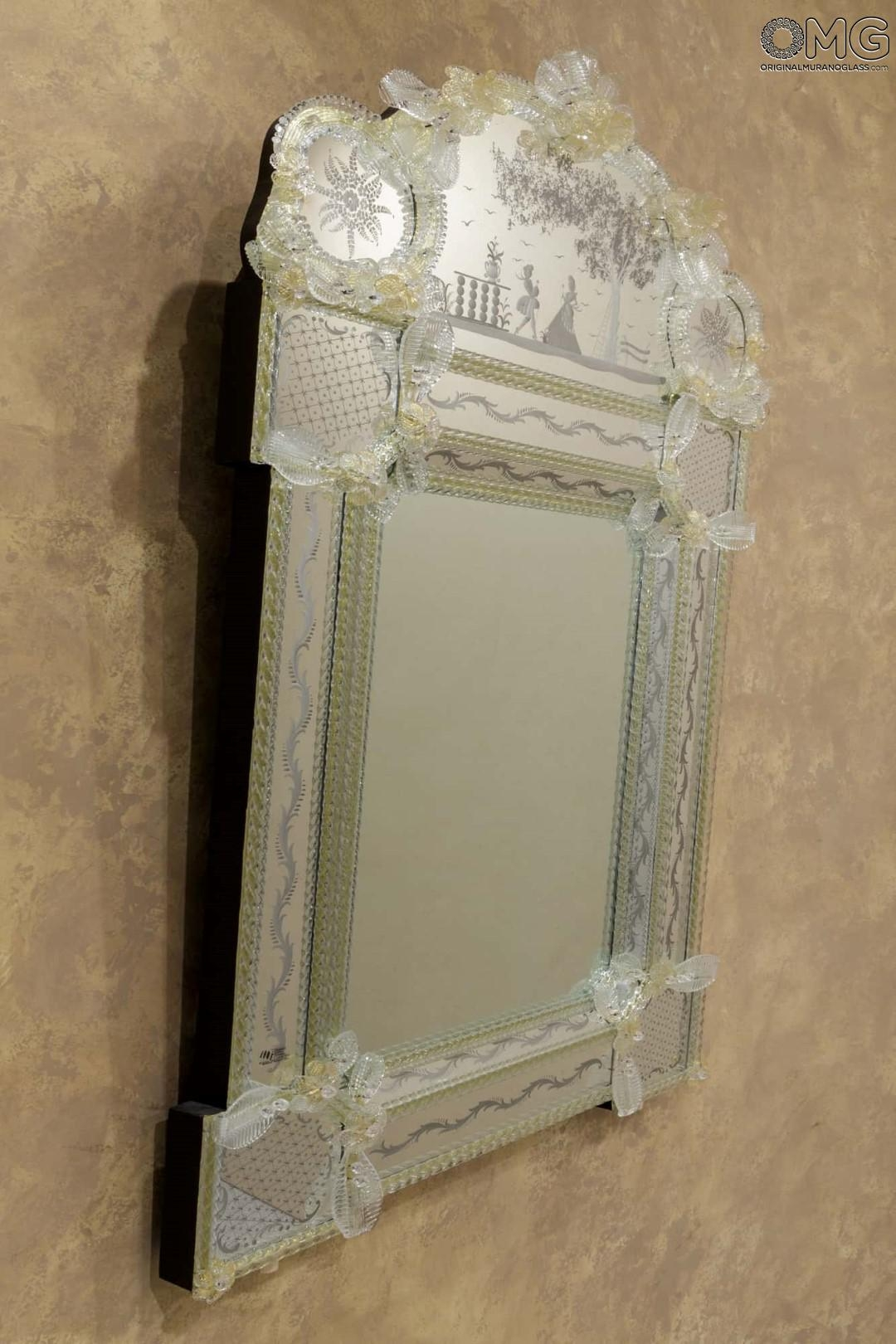 Amore Wall Venetian Mirror Murano Glass And Gold 24carats Pertaining To Gold Venetian Mirror (Image 1 of 15)