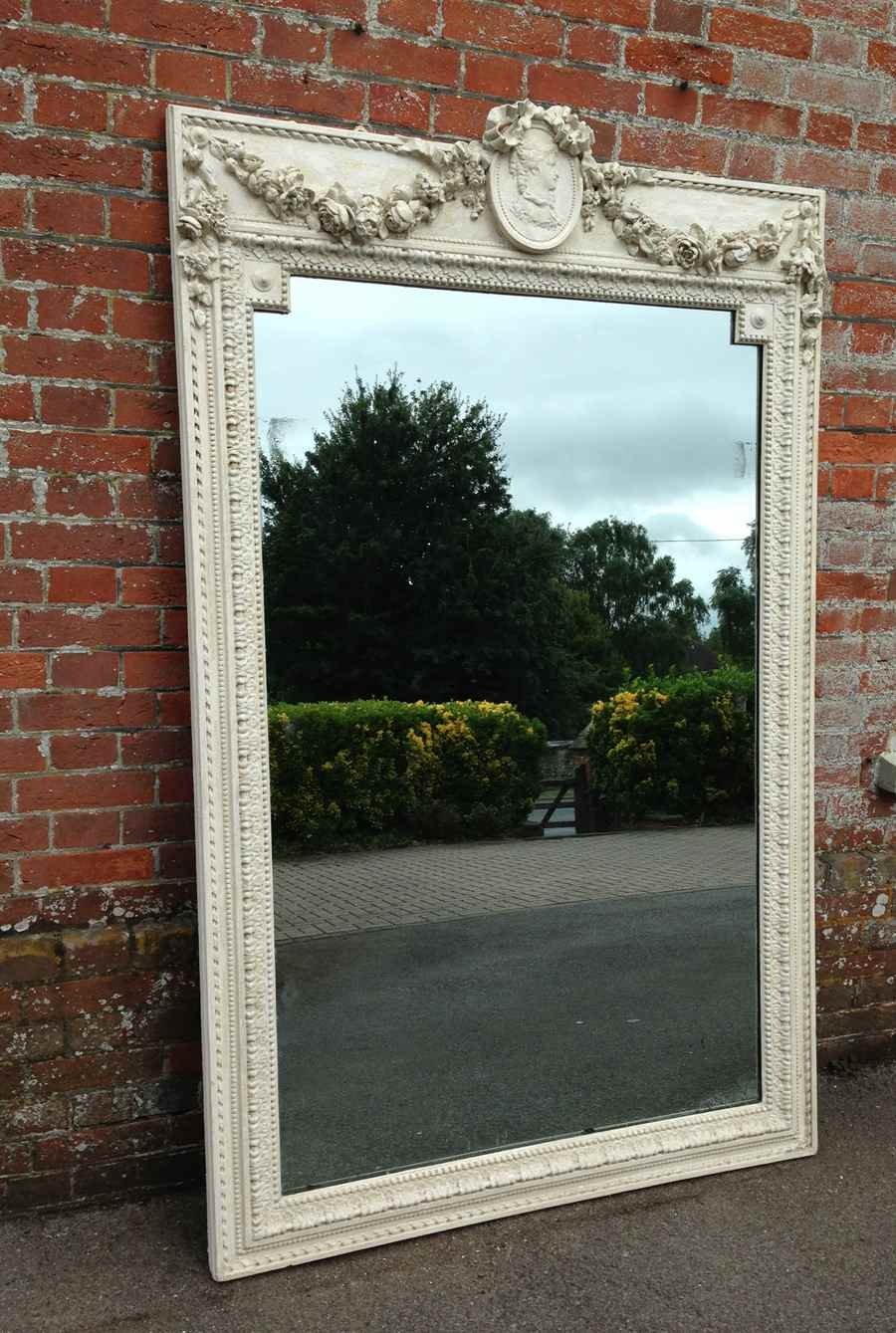 An Absolutely Stunning Large Original Distressed Cream And White With Distressed Cream Mirror (Image 4 of 15)
