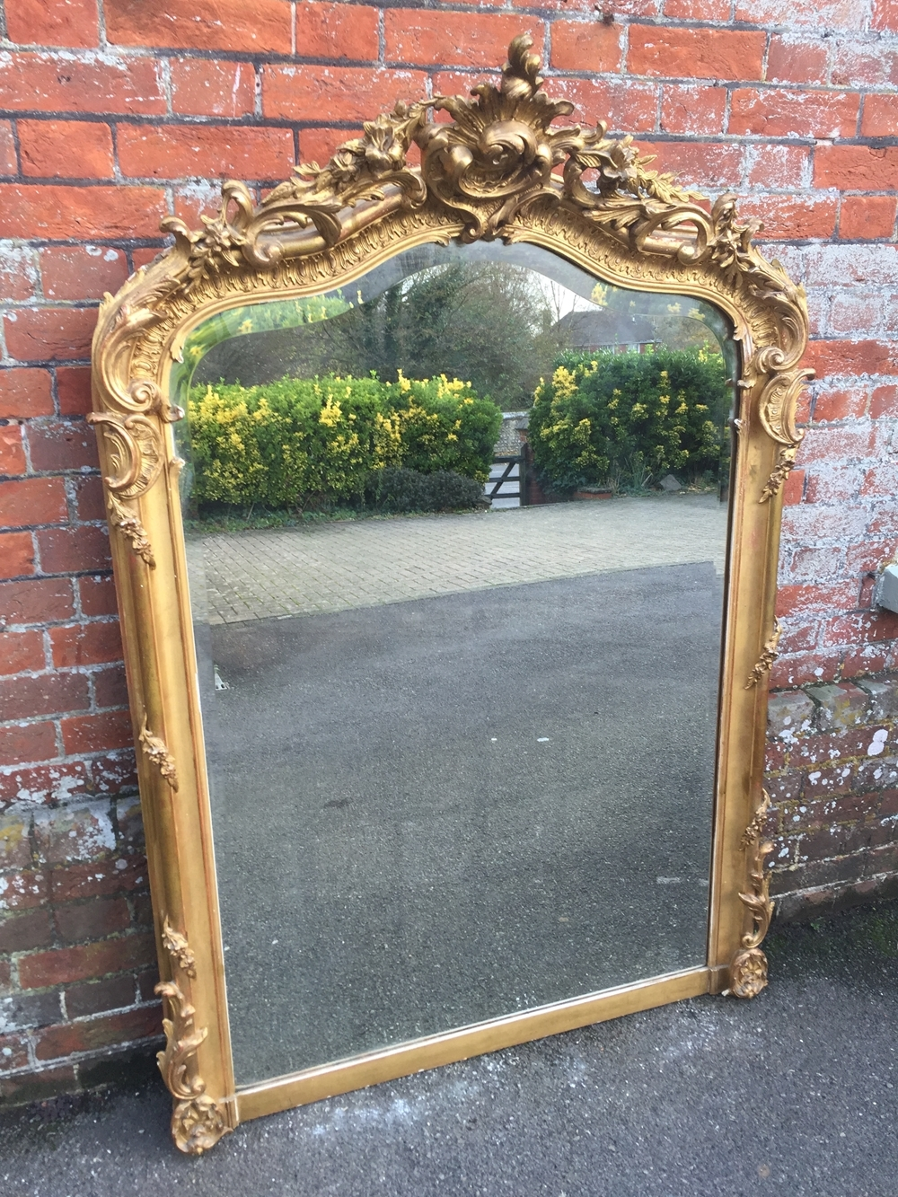 An Absolutely Superb Large Antique 19th Century French Carved Wood Within French Gilt Mirror (Image 4 of 15)