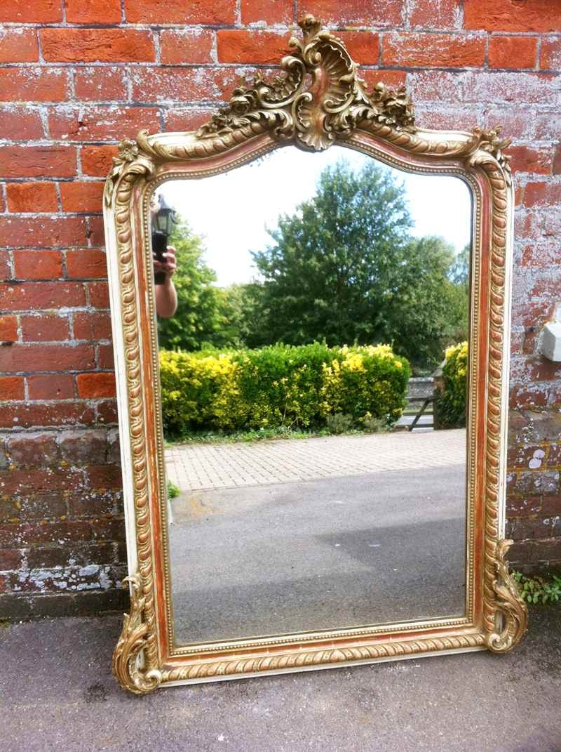 An Early Antique French Cream And Gilt Ornate Framed Mirror Pertaining To Gilt Edged Mirrors (Image 3 of 15)