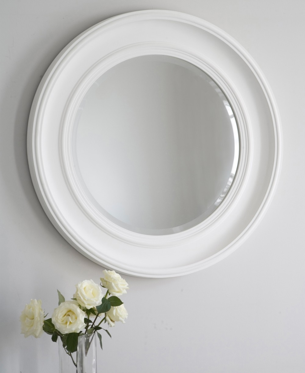 An Easy Round Mirror Ideal For A Living Room Hallway Or Bathroom Within White Round Mirror (Image 1 of 15)