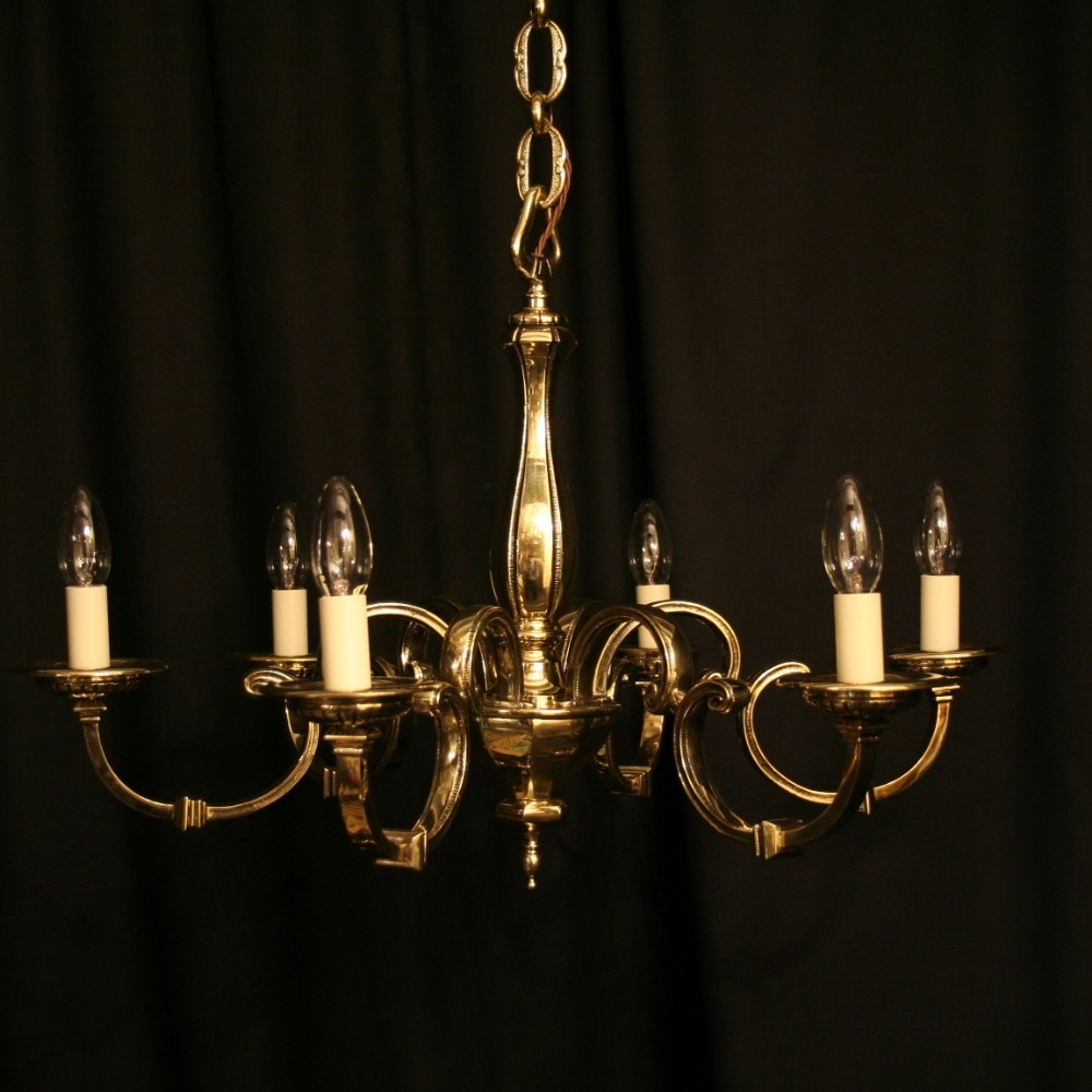 An English Cast Brass 6 Light Antique Chandelier 249019 In Old Brass Chandelier (Image 2 of 15)