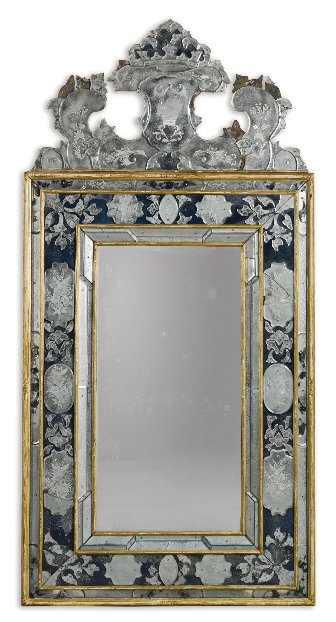 An Italian Engraved Clear And Blue Glass Mirror Venetian Part Inside Rectangular Venetian Mirror (View 15 of 15)