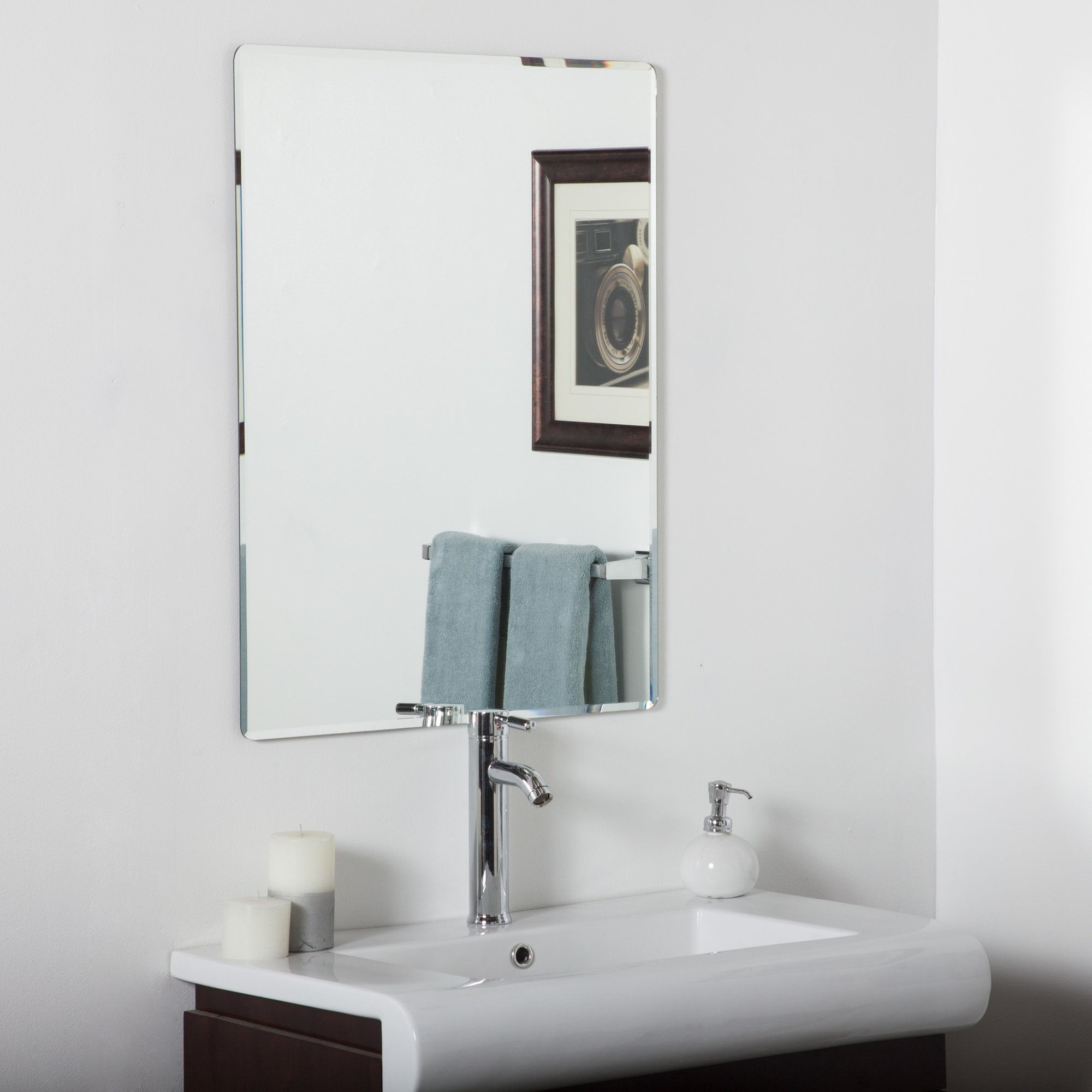 Andover Mills Rectangle Metal Frameless Wall Mirror Reviews Pertaining To Frameless Wall Mirror (Image 1 of 15)