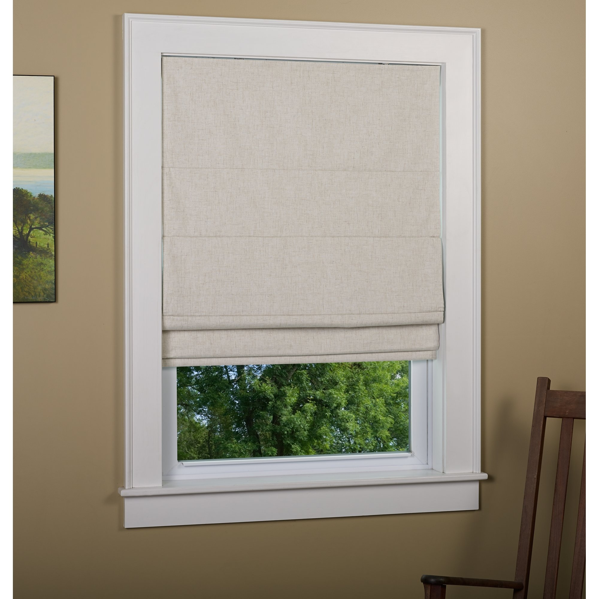 Andover Mills Richmond Linen Cordless Thermal Backed Roman Shade W In Blackout Thermal Blinds (Image 1 of 15)