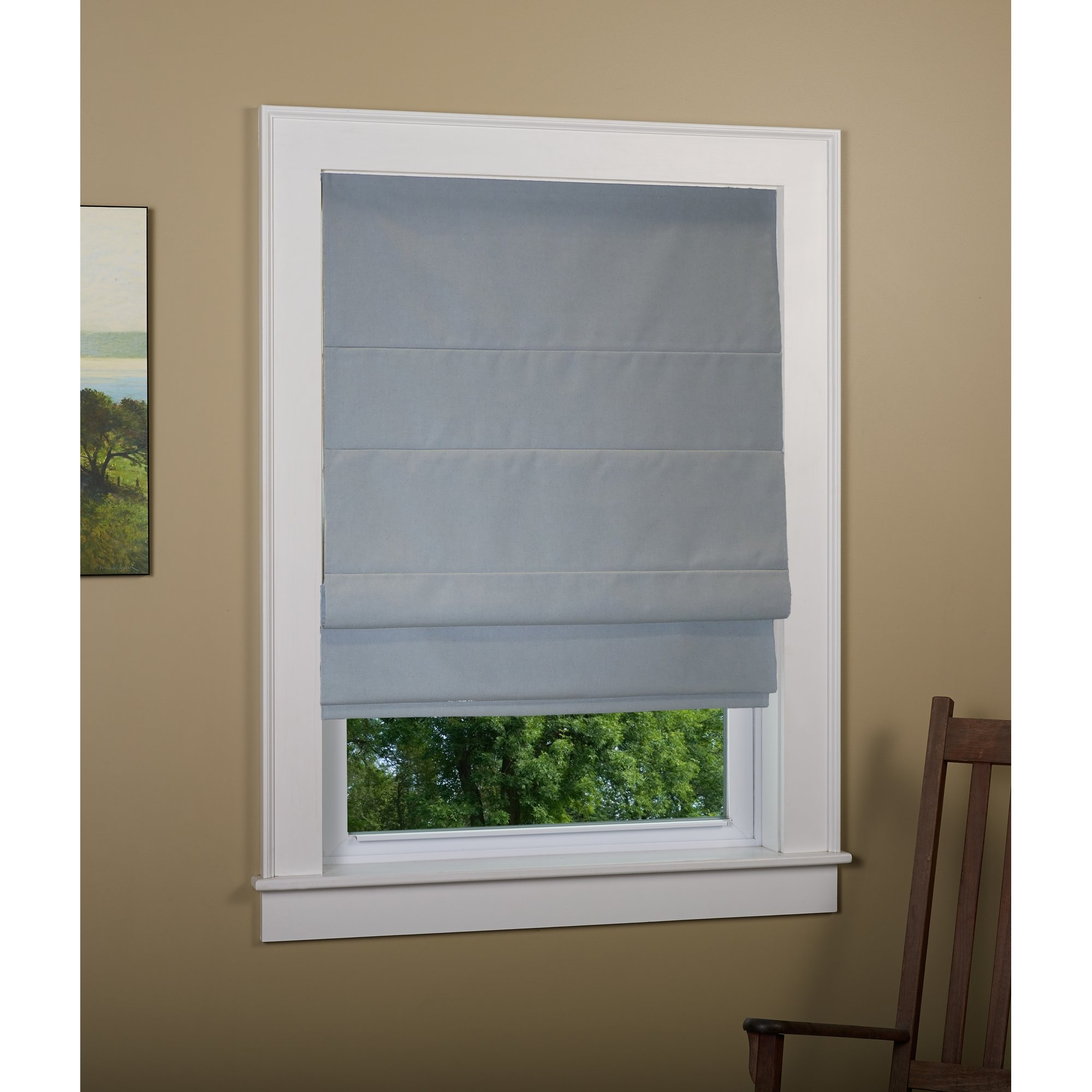 Andover Mills Richmond Linen Cordless Thermal Backed Roman Shade W With Regard To Thermal Lined Roman Shades (Image 4 of 15)