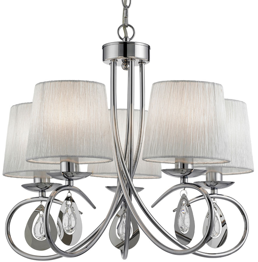 Angelique Decorative 5 Light Chrome Chandelier With Shades 1025 5cc Intended For Chrome Chandelier (Image 2 of 15)