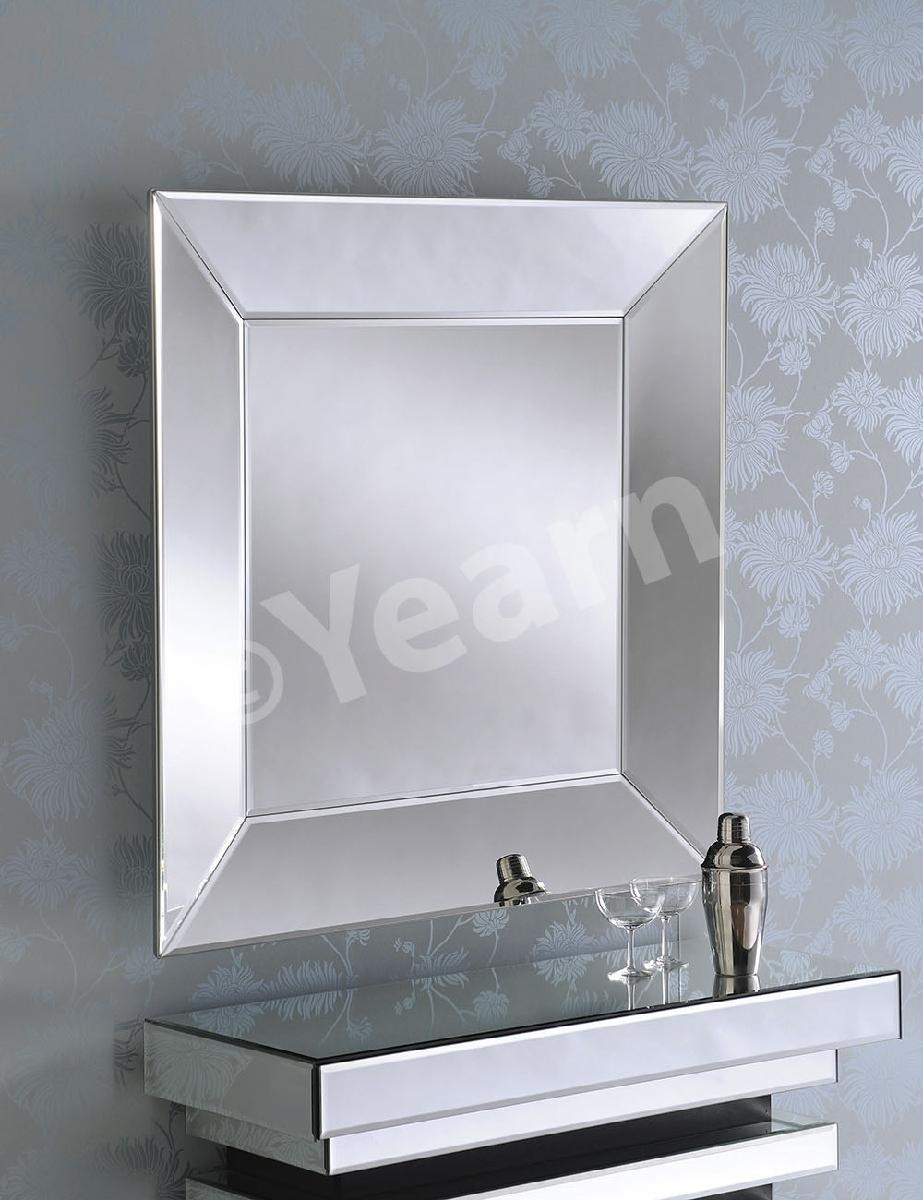 Angled Side Square Frameless Bevelled Art Deco Mirror 28500 For Square Frameless Mirror (Image 1 of 15)