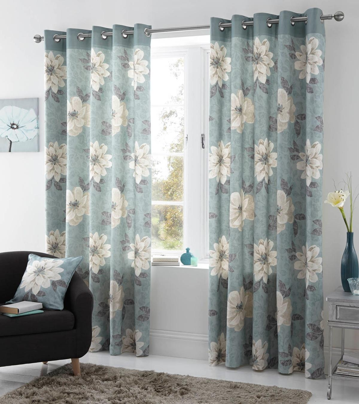 Annabella Eyelet Curtains In Duck Egg Free Uk Delivery Terrys Throughout Duck Egg Blue Blackout Curtains (Image 1 of 15)