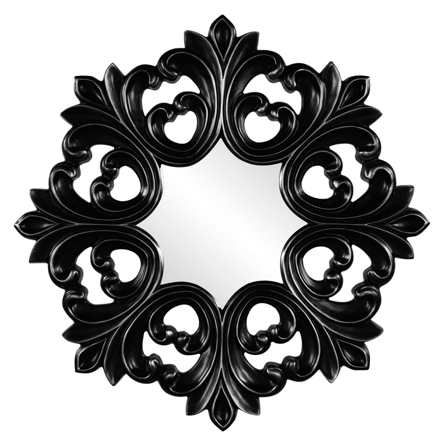 Annabelle Black Round Baroque Mirror Howard Elliott Collection For Baroque Mirror Black (Image 1 of 15)