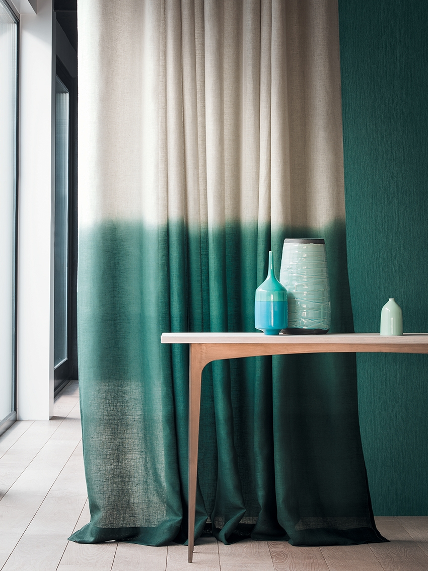 Another Fabulous Umbre From Designers Guild Padua This Time On A Throughout Turquoise Burlap Curtains (Image 4 of 15)