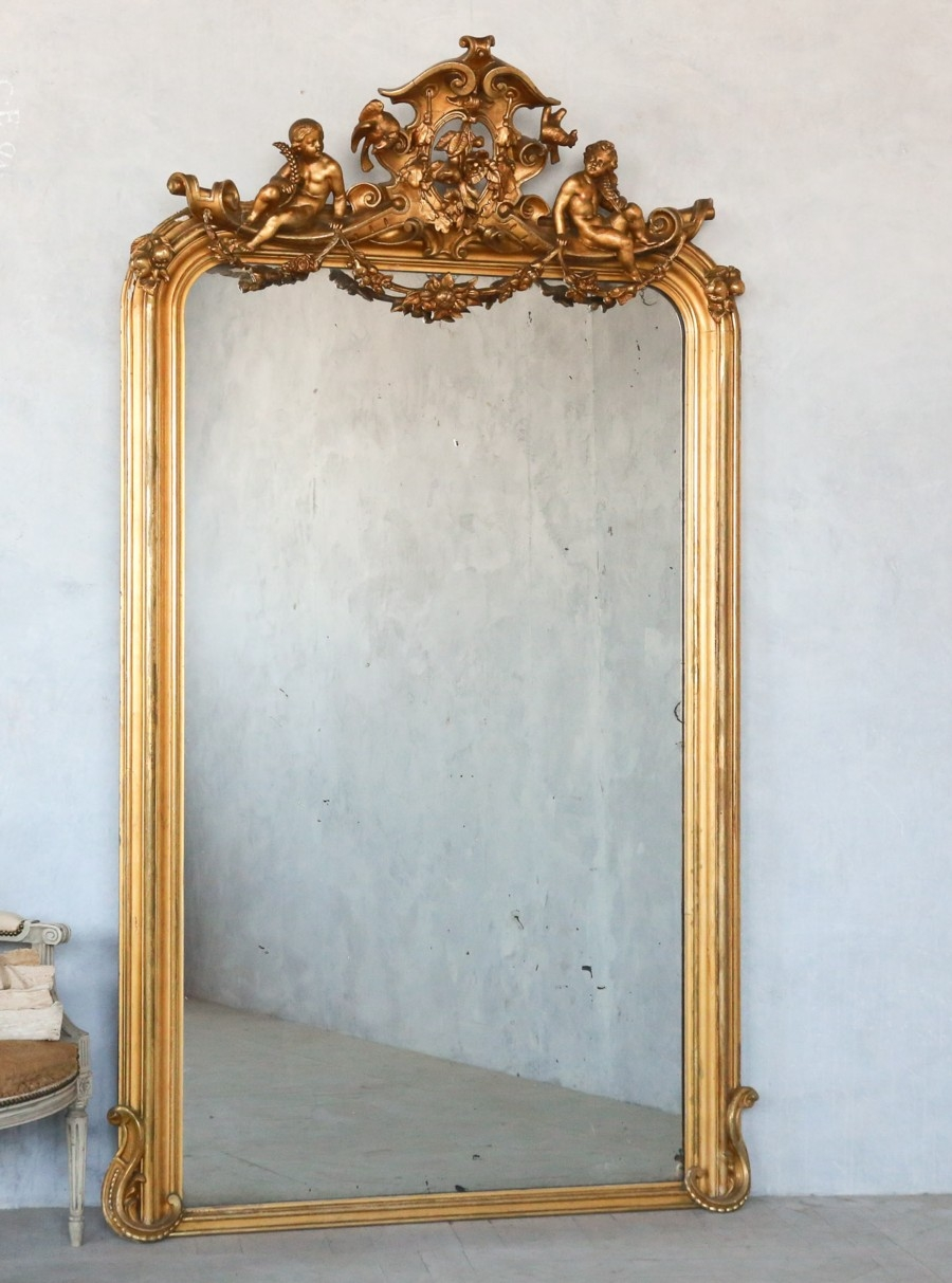 Antique 19th Century French Louis Philippe Gilt Mirror Cupids With Regard To Antique Gilt Mirrors (Image 6 of 15)