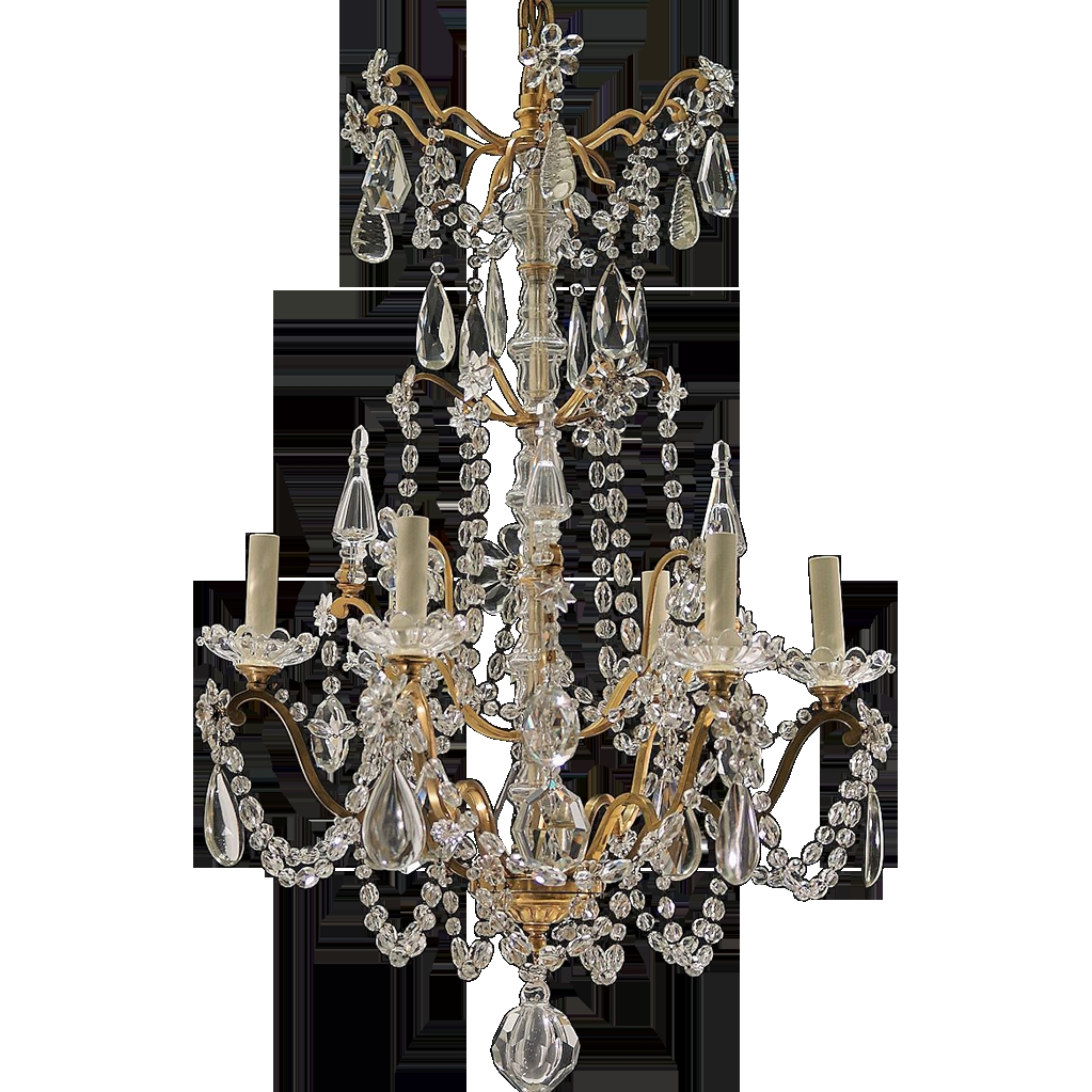 Antique 6 Light French Gilt Brass And Crystal Chandelier From Tolw With Regard To Vintage French Chandeliers (Image 2 of 15)