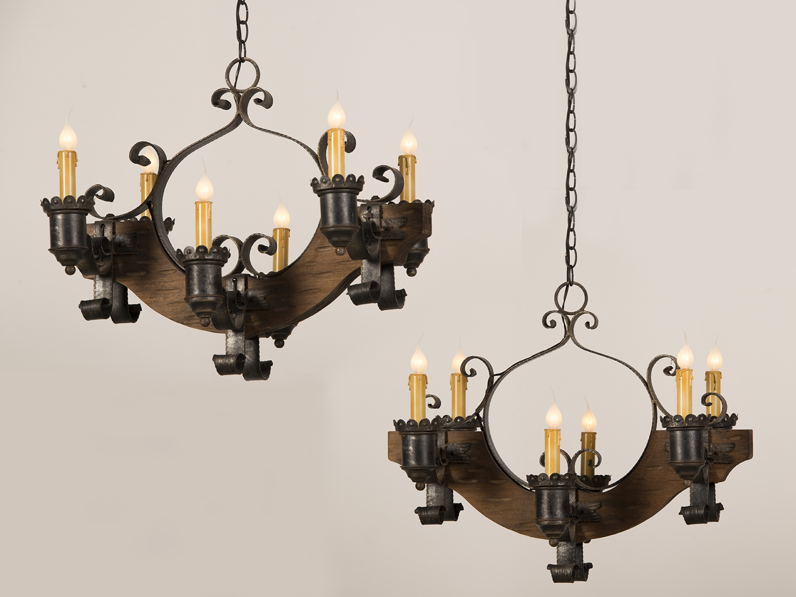 Antique And Vintage Pair Old Wood Chandeliers With Black Cast Iron Throughout Vintage Wrought Iron Chandelier (Image 3 of 15)