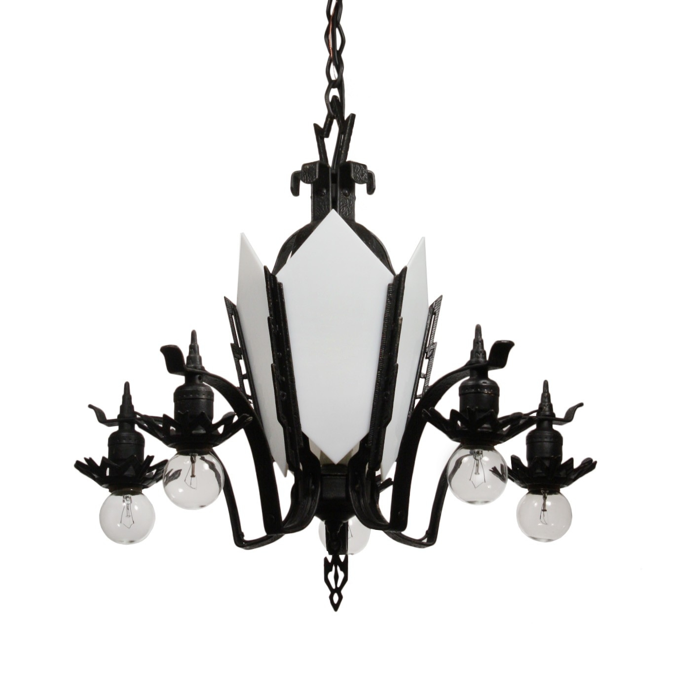 Antique Art Deco Cast Iron Chandelier C 1930s Preservation Inside Cast Iron Antique Chandelier (Image 3 of 15)