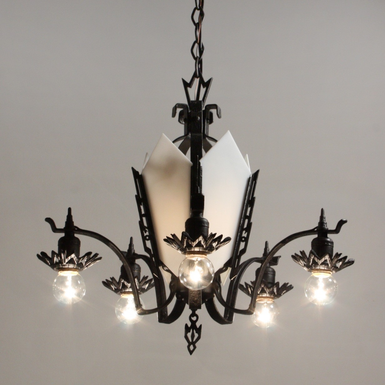 Antique Art Deco Cast Iron Chandelier C 1930s Preservation With Cast Iron Chandelier (Image 4 of 15)