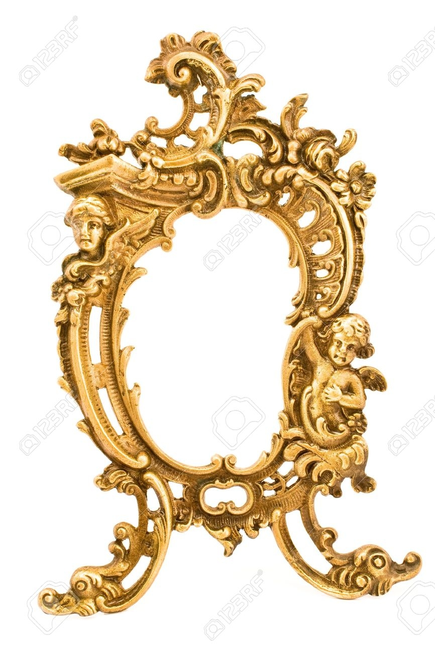 Antique Baroque Brass Frame Isolated On White Stock Photo Picture With Regard To Baroque Mirror Frame (Image 3 of 15)