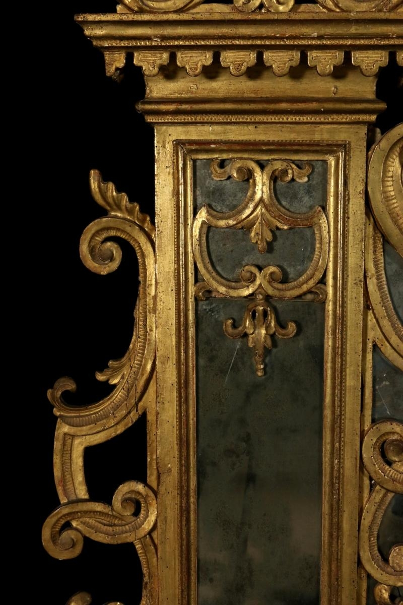 Antique Baroque Linden Carved And Gilded Hearth Mirror For Sale At Intended For Antique Gilded Mirror (Image 2 of 15)