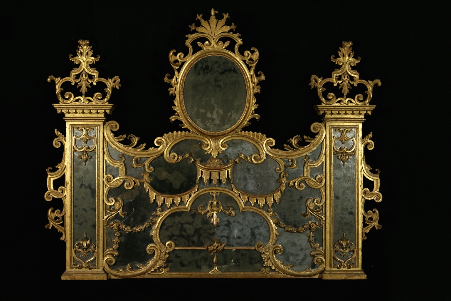 Antique Baroque Linden Carved And Gilded Hearth Mirror For Sale At Within Antique Gilded Mirror (Image 4 of 15)