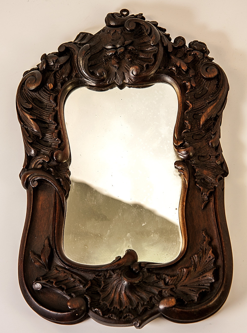Antique Black Forest Or French Hand Carved Wood Frame For Mirror Inside Antique Black Mirror (Image 1 of 15)