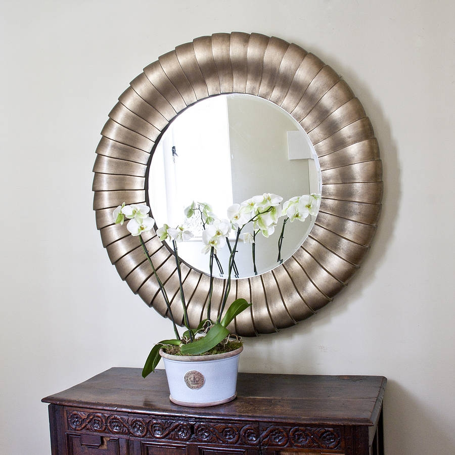 Antique Bronze Round Mirror Round Mirrors In Round Mirrors Large (Image 1 of 15)
