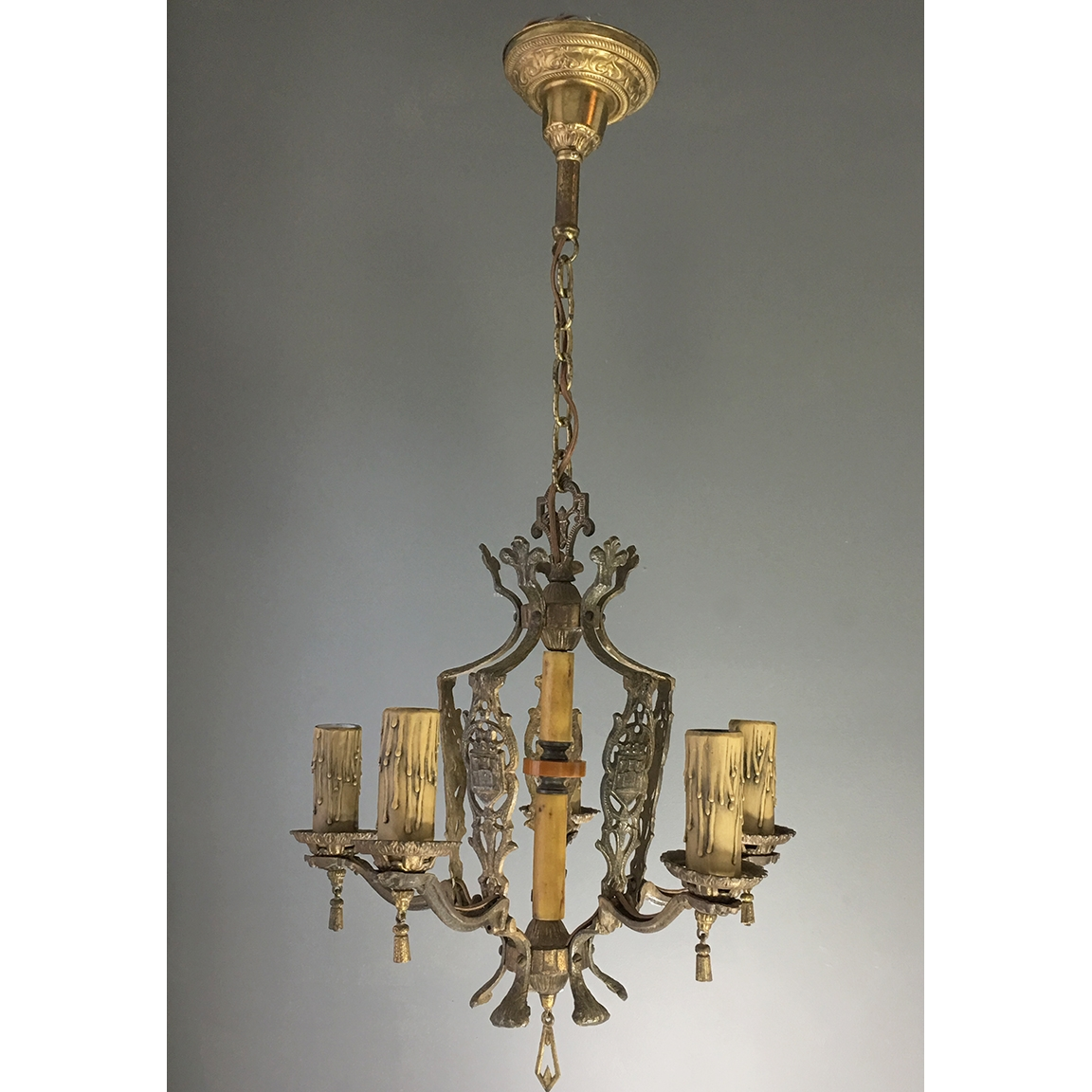 Antique Ceiling Fixtures Pertaining To Cast Iron Antique Chandelier (Image 4 of 15)