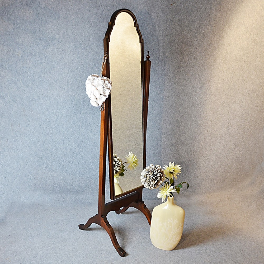 Antique Cheval Mirror Tall Dressing Swing Free Standing English Pertaining To Vintage Standing Mirror (Image 1 of 15)