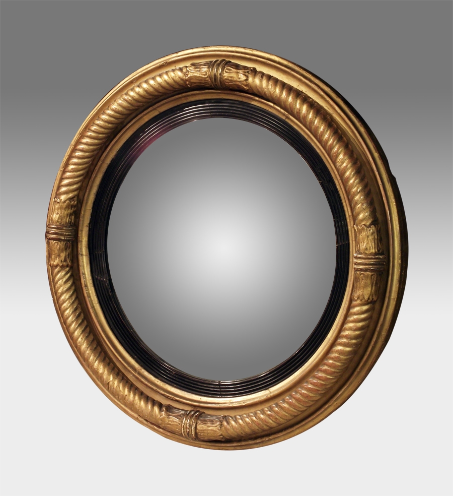 Antique Convex Mirror Gilt Convex Wall Mirror Regency Round For Convex Wall Mirrors (Image 3 of 15)