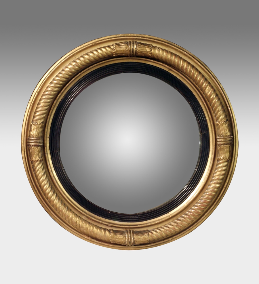 Antique Convex Mirror Gilt Convex Wall Mirror Regency Round Regarding Round Antique Mirrors (Image 1 of 15)