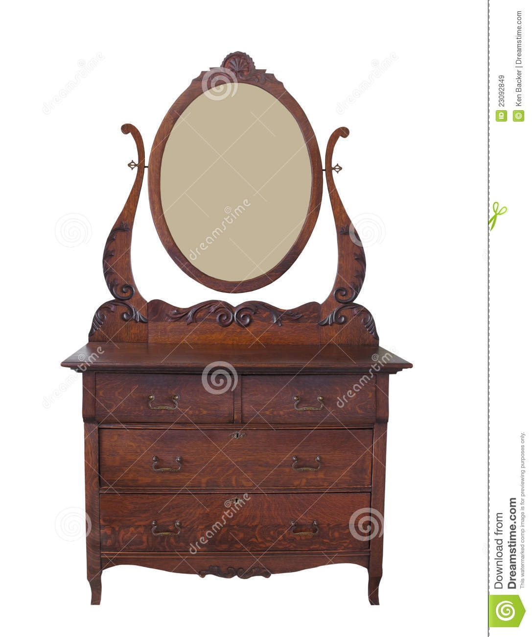 Antique Dresser With Mirror Isolated Royalty Free Stock Images Intended For Antique Oak Mirrors (View 14 of 15)