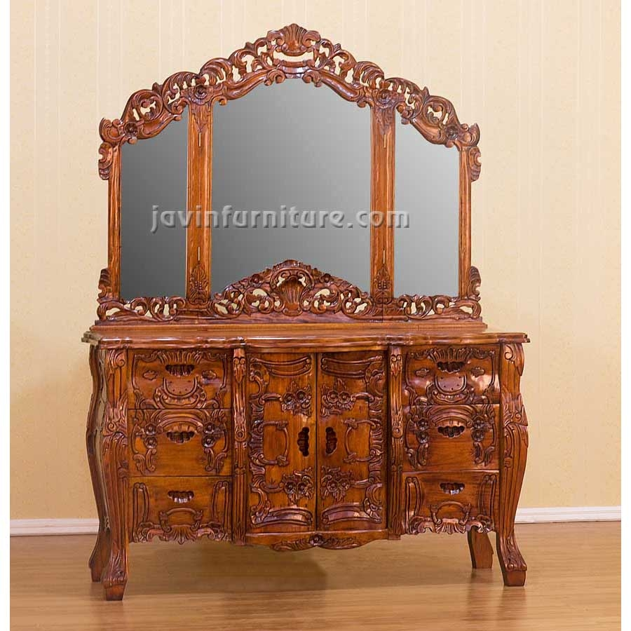 Antique Dressing Table With Triple Mirror 34365 Dressing Table Pertaining To Antique Triple Mirror (Image 2 of 15)