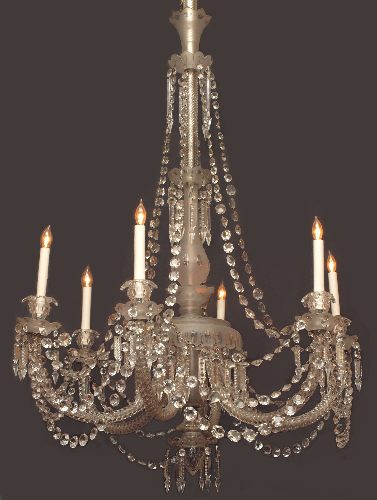 Antique English 19th Century Gasolier Fine Lead Crystal Chandelier With Lead Crystal Chandelier (Image 6 of 15)
