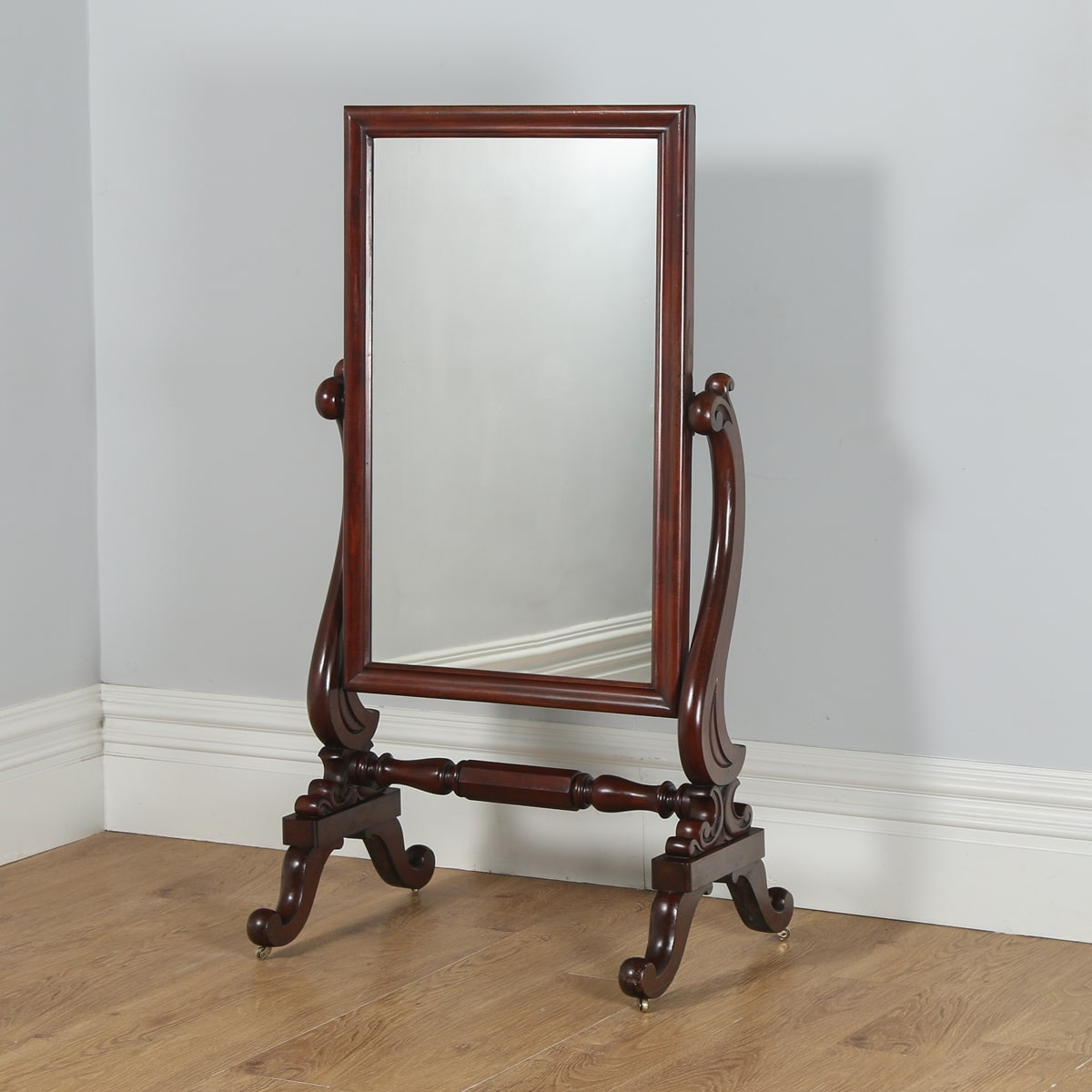 Antique English Victorian Mahogany Floor Standing Cheval Mirror Throughout Victorian Standing Mirror (Image 1 of 15)