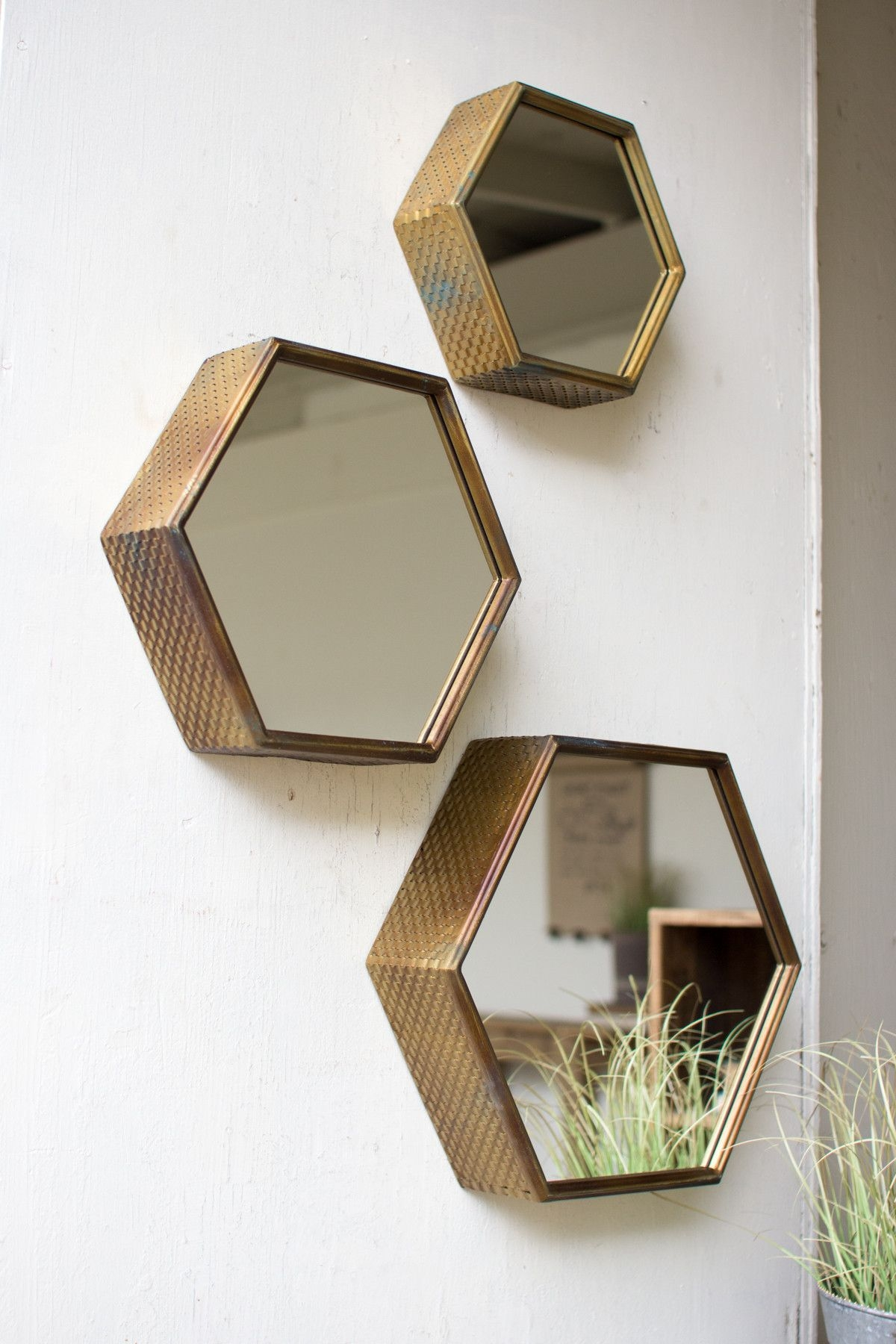 Antique Finished Hexagon Mirrors Set Of 3 Hexagons Large And With Regard To Antique Small Mirrors (Image 1 of 15)