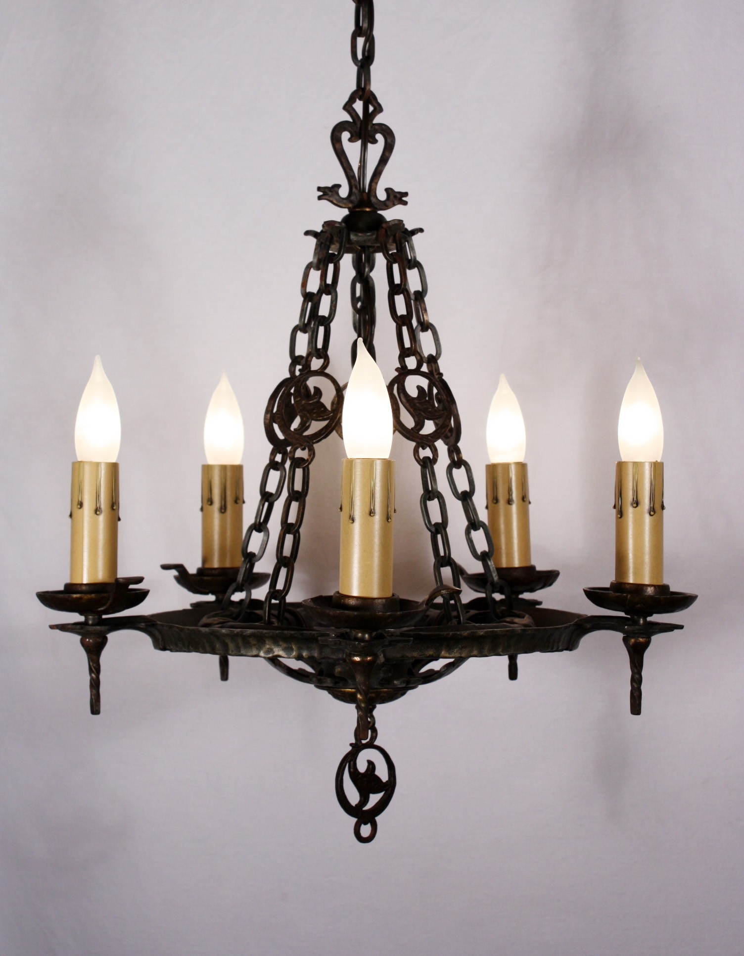 Antique Five Light Cast Iron Tudor Chandelier Signed Virden Throughout Cast Iron Antique Chandelier (Image 7 of 15)