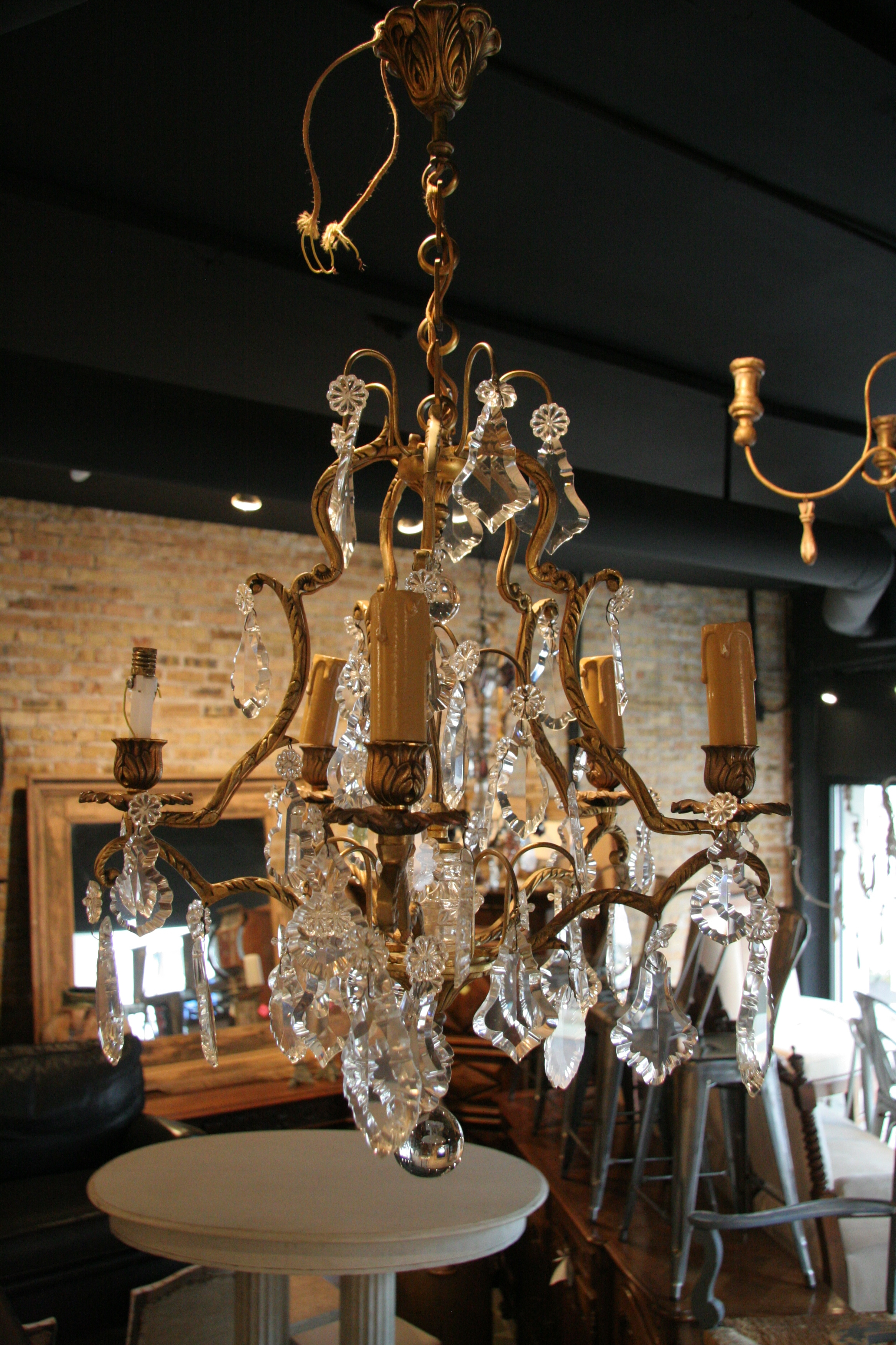 Antique French 5 Light Brass And Crystal Chandelier For Vintage Brass Chandeliers (View 6 of 15)