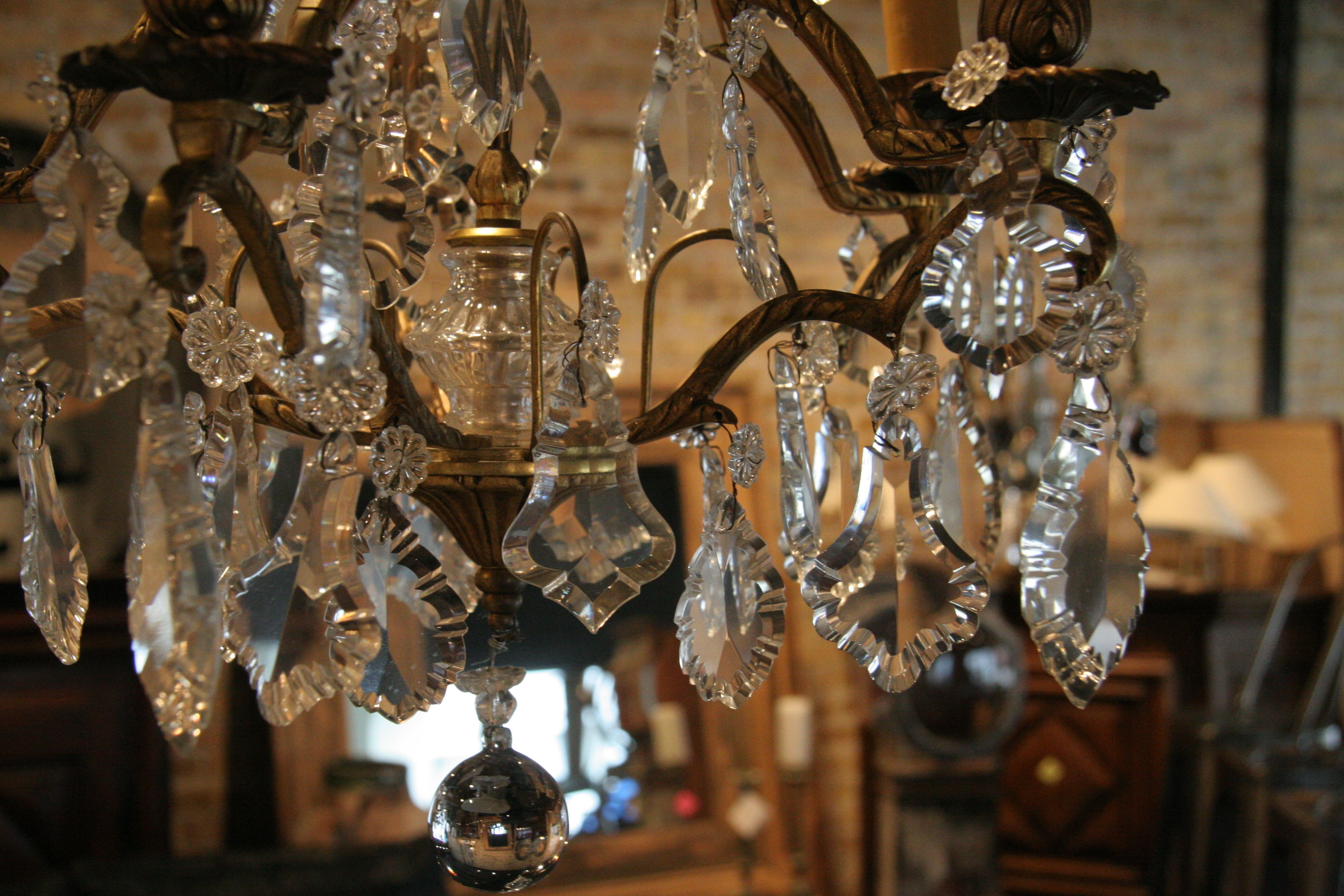 Antique French 5 Light Brass And Crystal Chandelier Regarding Vintage Brass Chandeliers (View 4 of 15)