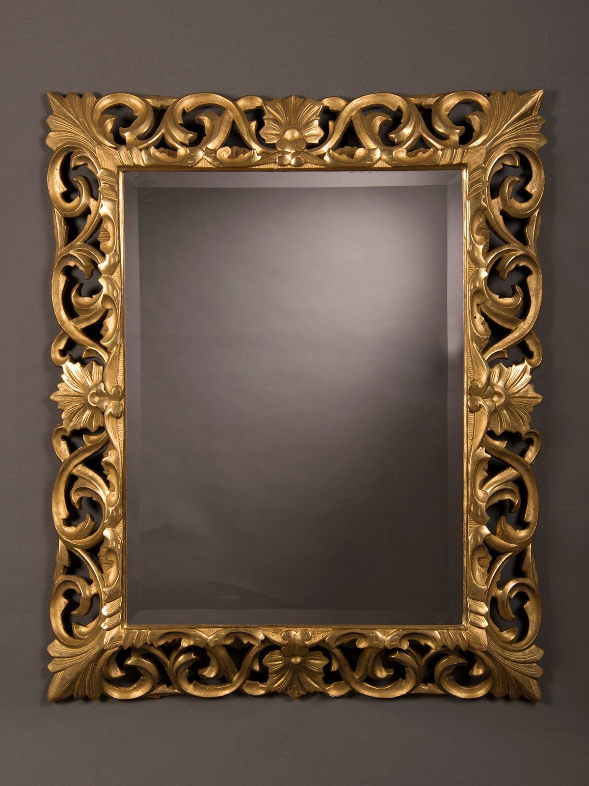 Antique French Baroque Style Gold Beveled Mirror 1875 35 12w X In Baroque Style Mirror (Image 2 of 15)
