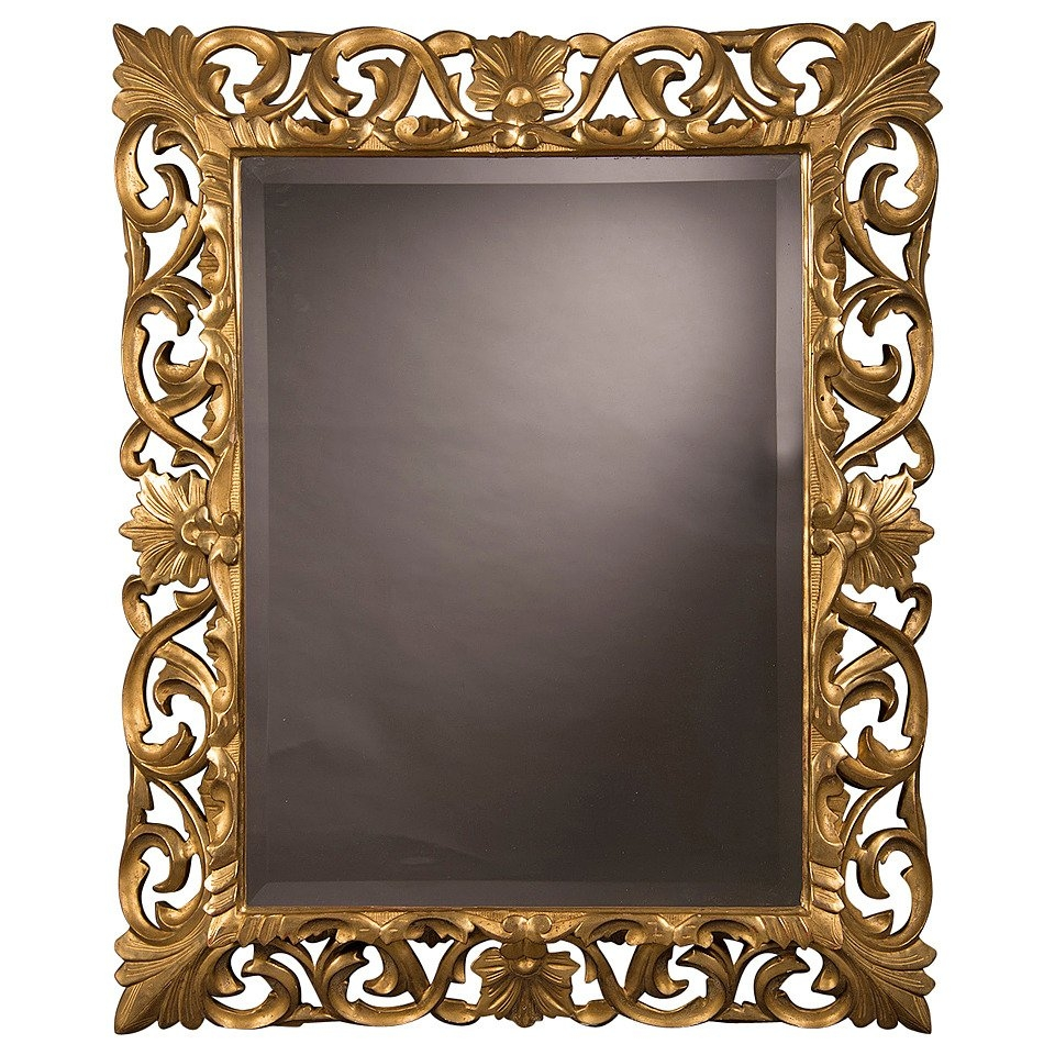 Antique French Baroque Style Gold Beveled Mirror 1875 35 12w X Inside Gold French Mirror (Image 1 of 15)