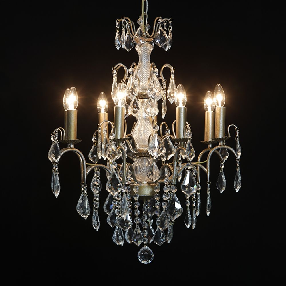 Antique French Cut Glass Gold Chandelier 8 Arm With Regard To French Glass Chandelier (Image 1 of 15)