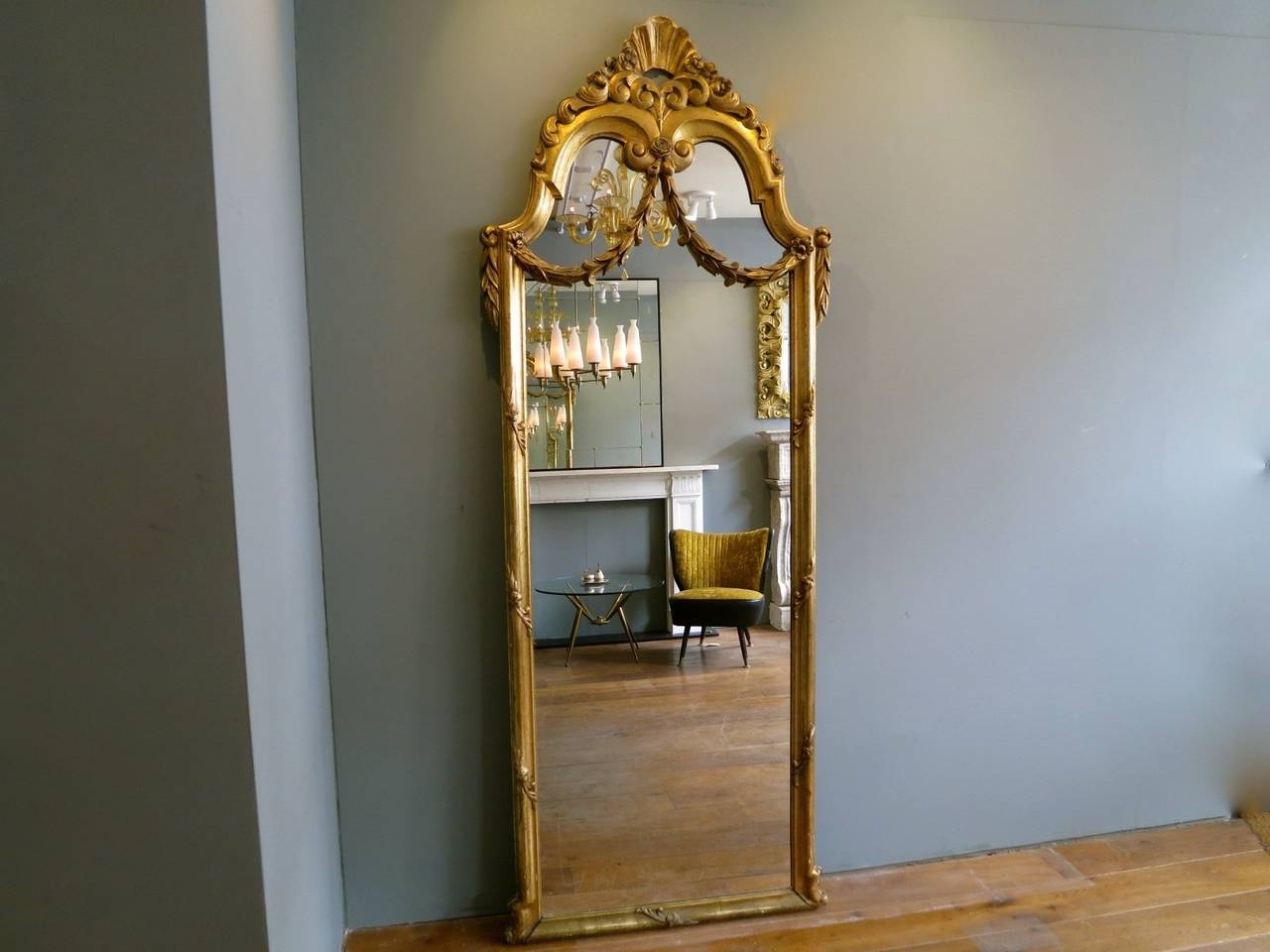 Antique French Gold Gilt Floor Standing Mirror At 1stdibs Inside French Gold Mirror (Image 1 of 15)