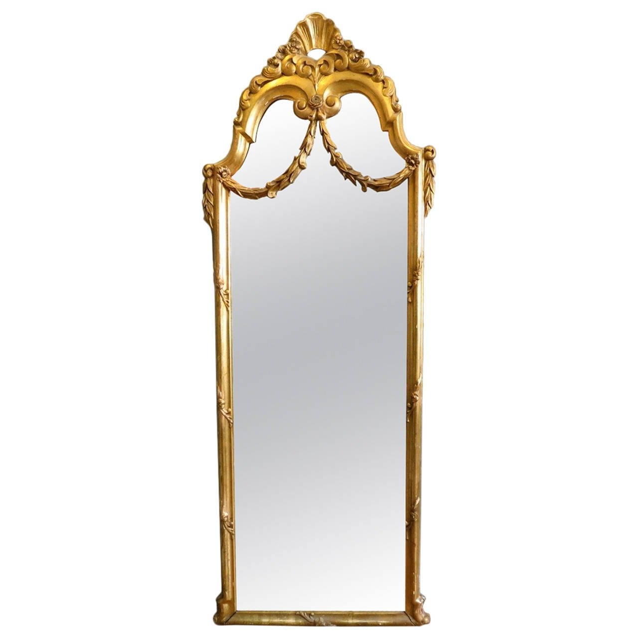 Antique French Gold Gilt Floor Standing Mirror At 1stdibs Intended For French Floor Standing Mirror (Image 7 of 15)