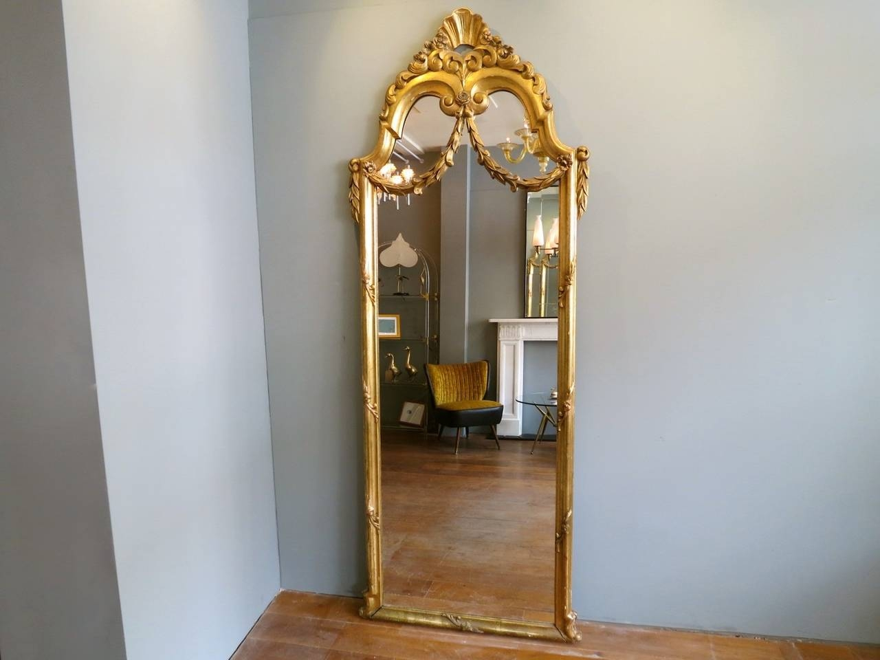 Antique French Gold Gilt Floor Standing Mirror At 1stdibs With French Gold Mirror (Image 2 of 15)
