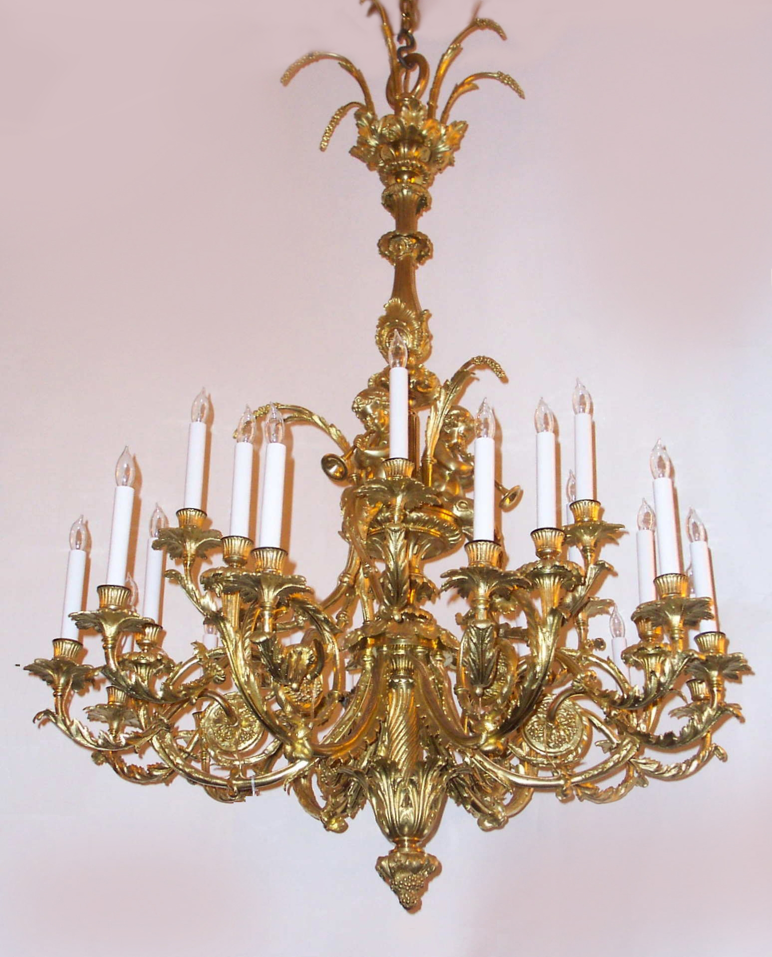 Antique French Louis 16th Gold Bronze Marie Antoinette Chandelier For French Bronze Chandelier (Image 6 of 15)
