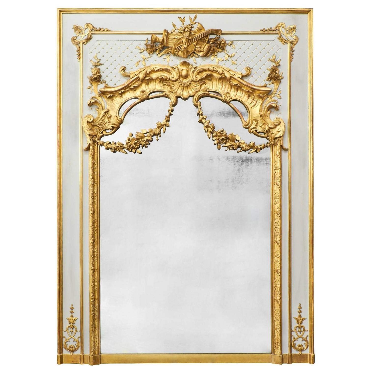 Antique French Louis Xvi Gold Leaf Trumeau For Sale At 1stdibs Within Gold French Mirror (Image 2 of 15)