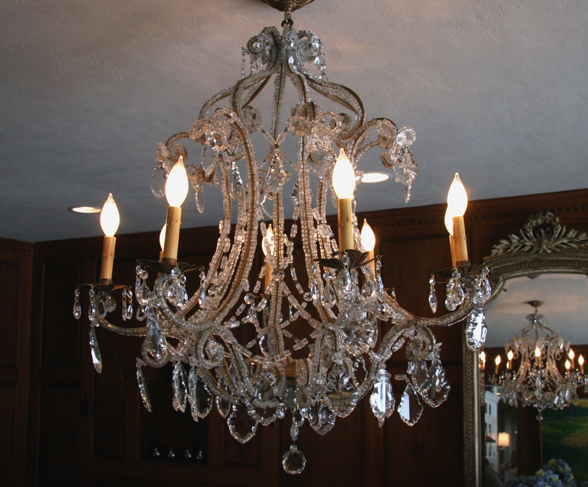 Antique French Macaroni Bead Crystal Chandelier Sold Throughout French Antique Chandeliers (Image 4 of 15)
