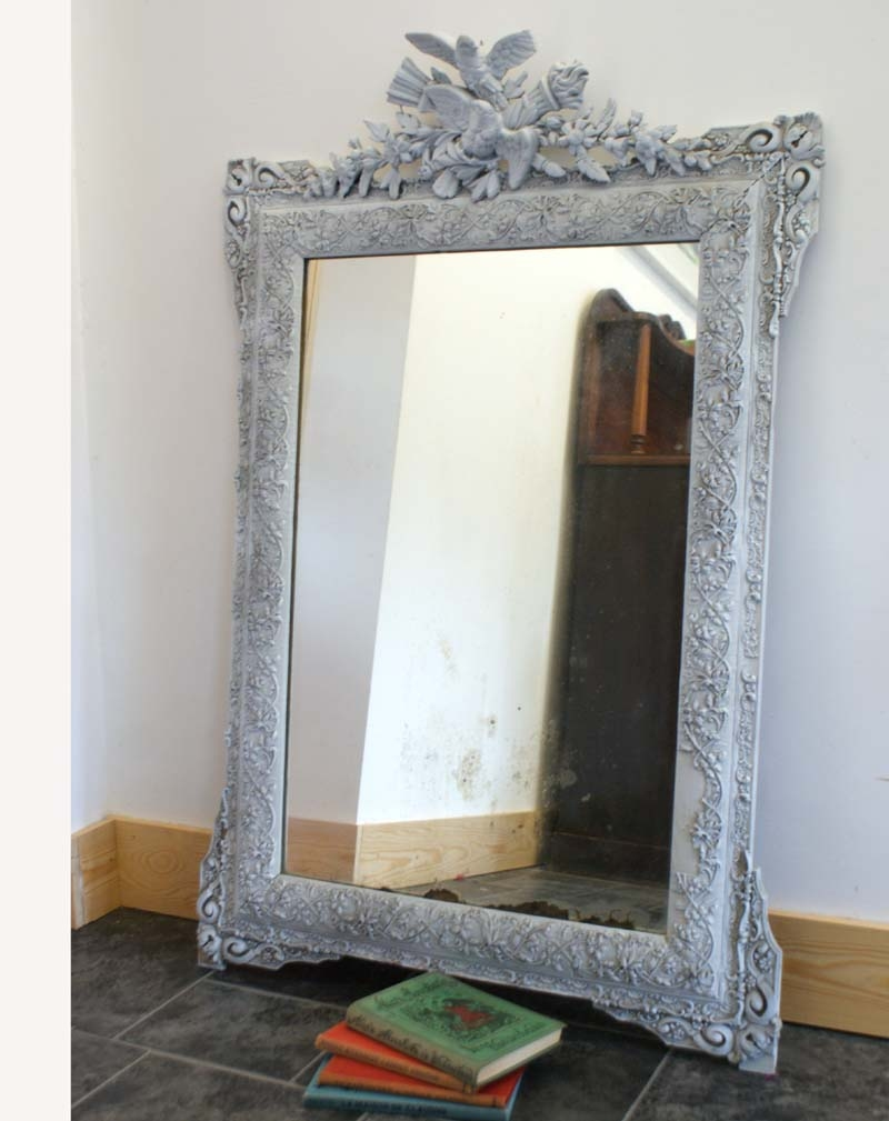 Antique French Mirror Distressed Shab Chic Grey Painted Inside French Chic Mirror (Image 4 of 15)
